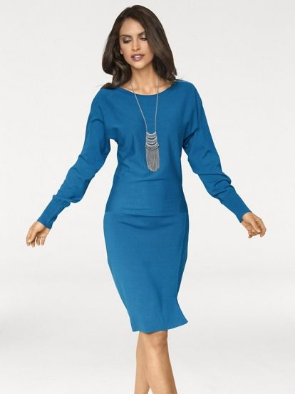 Ženska Pletena Obleka ASHLEY BROOKE BY HEINE #dress #blue_dress #long_sleeve #winter_clothes #winter_dress