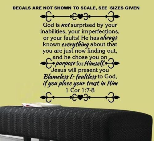 1 CORINTHIANS 1:7-8 BIBLE QUOTATION STICKER EXTRA LARGE VINYL DECAL
