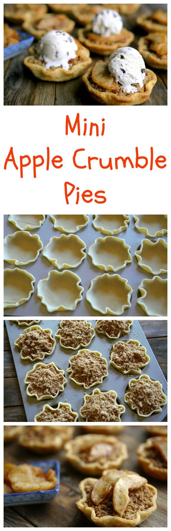 Mini Apple Crumble Pies from NoblePig.com. Pie skills are NOT necessary for this adorable dessert. The individual pies are sized perfectly to enjoy after a big meal. Great for the Fall, Thanksgiving or any holiday celebration.