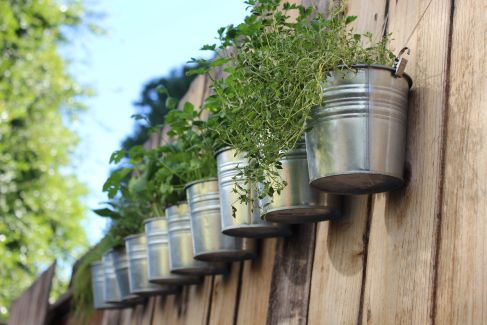 herb garden hanging on fence with ikea hook buckets