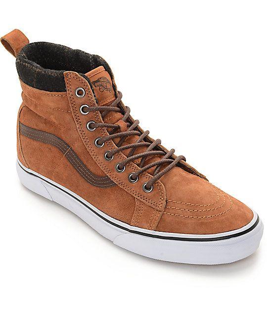 56fe2e1250 Vans Sk8-Hi MTE Glazed Ginger and Plaid Shoes