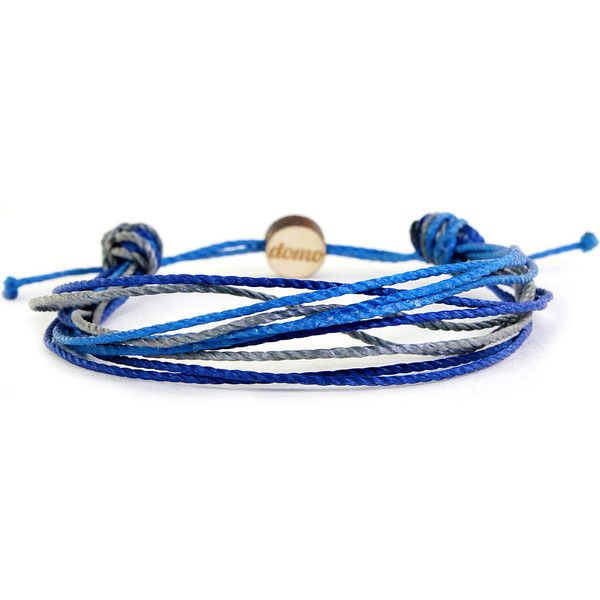 Domo Beads Mini String Retractable Bracelet | Ocean ($13) ❤ liked on Polyvore featuring jewelry, bracelets, navy and grey, bracelet bangle, navy blue bracelet, string bracelet, bracelet jewelry and navy jewelry