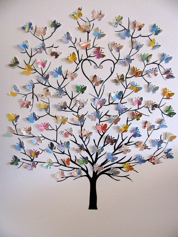 11x14 Tree Of 3d Mini Butterflies Upcycled Love You Forever Or Your Book Selection Personalized At Bottom Made To Order Knutselideeën Diy Ambachten Papierkunst