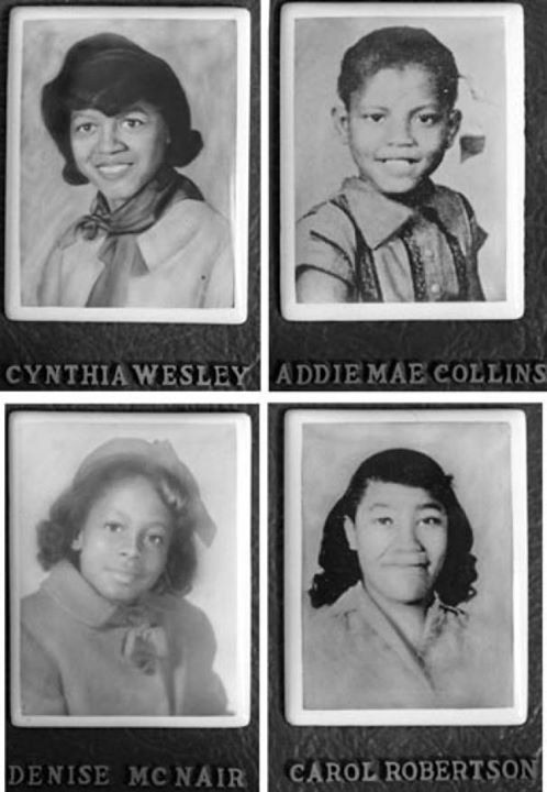 Four young girls were mudered when the 16th Street Baptist Church in Birmingham, Alabama was bombed on Sunday, September 15, 1963 as an act of racially motivated American terrorism.   The hateful and tragic event marked a turning point in the U.S. 1960s Civil Rights Movement and contributed to support for passage of the Civil Rights Act of 1964.