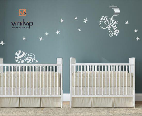 si esperas gemelos nio y nia te hemos diseado esta decoracin infantil de vinilos para