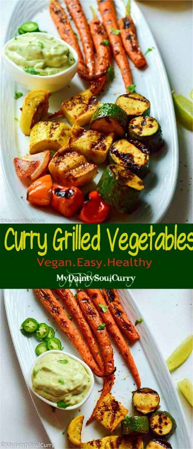 curry grilled veggies with curry balsamic marinade #vegan #easy