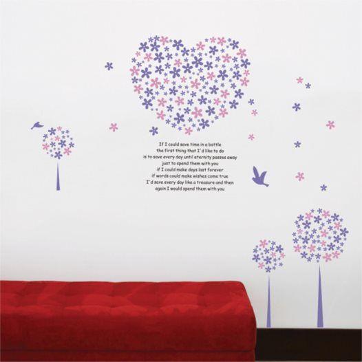 Hemdekor - Väggdekor Rosa och lila hjärta