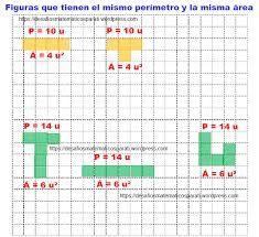Resultado de imagen para perímetro y el área de las figuras.