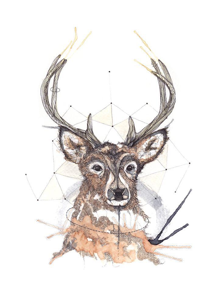"""Hjort"" (Deer) Copyright: Emmeselle.no illustration by Mona Stenseth Larsen"