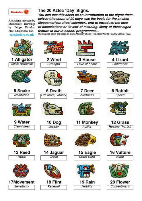 Mexicolore's (revised) Aztec Calendar Daysigns info sheet