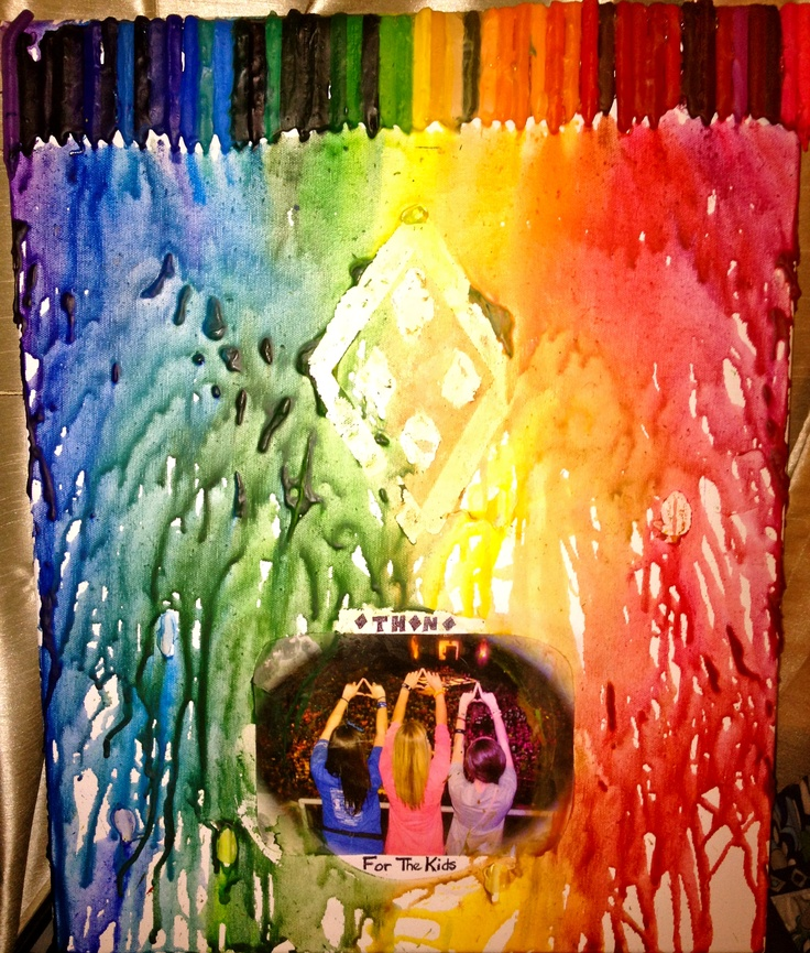 Melted crayons art inspired by THON!  1. deco-page picture/tape on design  2. make sure picture is covered (i used a plastic lid)  3. hot glue crayons to canvas  4. use hair dryer to melt  5. hang it up to cherish forever <3