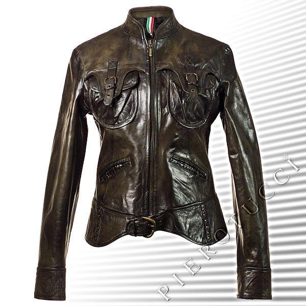 Marlboro Green Vintage look leather jacket for women