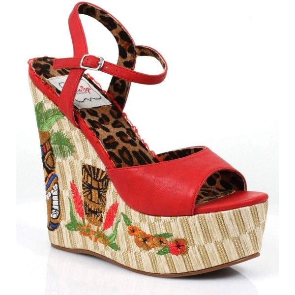 Red & Tiki Keke Wedges Shoes ($89) ❤ liked on Polyvore featuring shoes, red, wedge heel shoes, ankle strap shoes, leopard shoes, leopard print shoes and platform wedge shoes