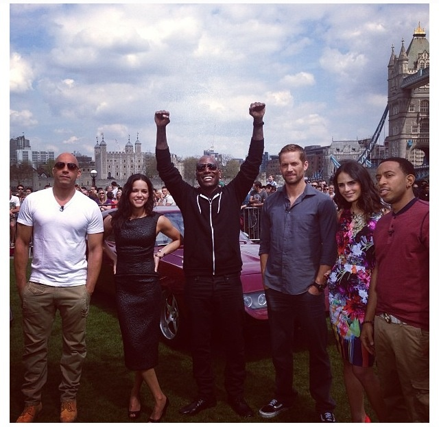 Fast & Furious cast: Vin Diesel (Dominic Toretto), Michelle Rodriguez (Letty), Tyrese Gibson (Roman Pearce), Paul Walker (Brian O'Conner), Jordana Brewster (Mia Toretto) and Ludacris (Tej)