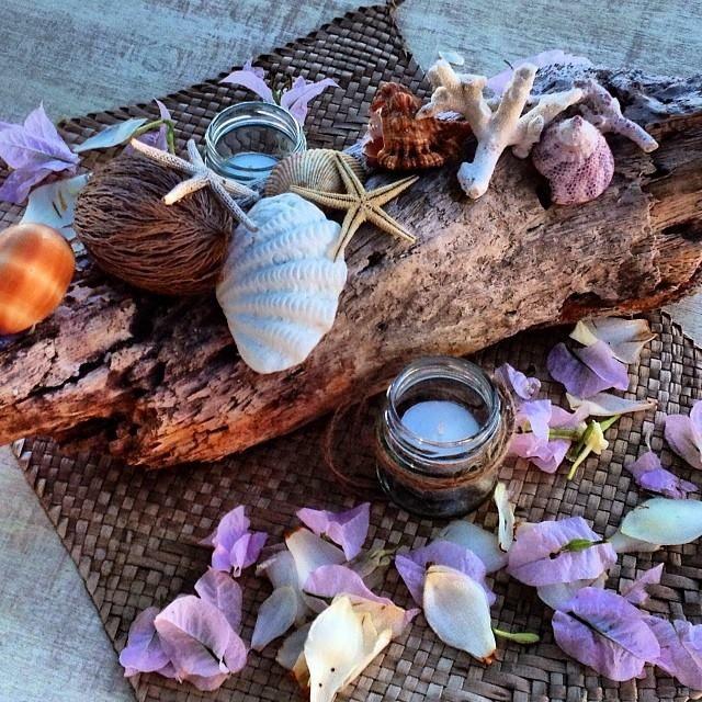 Driftwood, starfish, shells, local flowers and mason jars with candles and twine #vanuatu #vanuatuwedding #destinationwedding #beachwedding #islandwedding #evrisamting #portvila #wedding #marriage #love