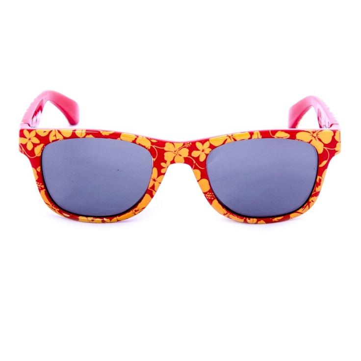 Hawaii R      Dei bei fiori hawaiiani arancioni decorano la bella montatura di un rosso vivace dei nostri occhiali da sole per bambini. E non solo sono belli ma sono anche dotati di ottime lenti polarizzate garantendo una protezione UVA del 100 %. Ideale per i bambini dell'età di circa 2 a 10 anni.   ...