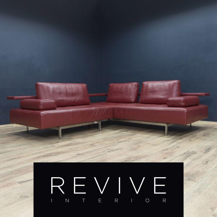 Rolf Benz Designer Leder Ecksofa Rot Sofa Couch Wohnlandschaft Echtleder Modern #1814 | Revive Interior
