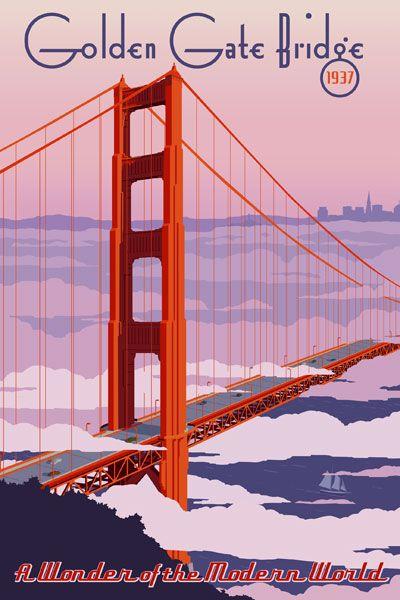 Golden Gate Bridge, San Francisco California vintage travel poster