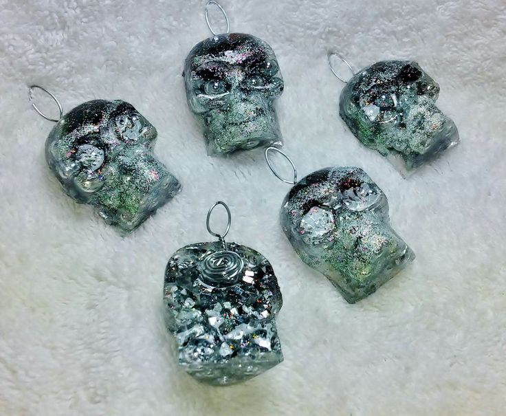 Onyx Orgonite Skull Medallions with Steel Beads by KomacOrgonite on Etsy