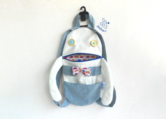 Toddler backpack Hipster boy zippered backpack by Zezling