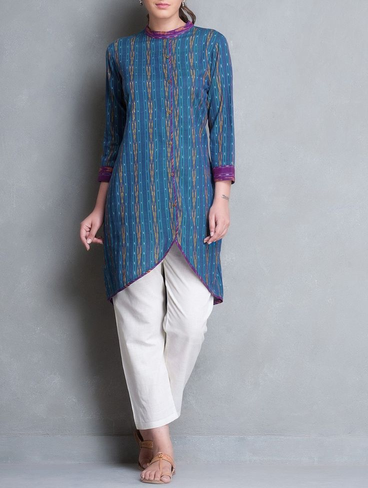 Buy Blue Purple Asymmetrical Button Down Ikat Cotton Kurta Women Kurtas Online at Jaypore.com