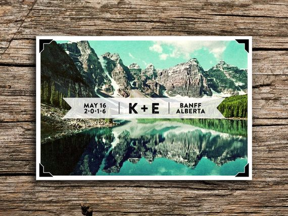 Mountain Lake Postcard Save the Date // Cascades by factorymade
