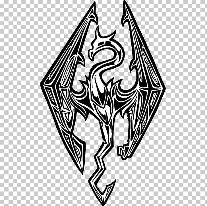 The Elder Scrolls V Skyrim Logo Video Game Dragon T Shirt Png Art Black Black And White Brand Coloring Book Elder Scrolls Skyrim T Shirt Png