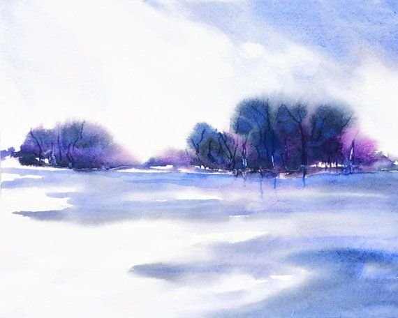 Landscape Art, Purple Wall Art Abstract, Watercolor Painting,Original Artwork, Blue Wall Decor for Him, Colorful Monochromatic Apartment Art