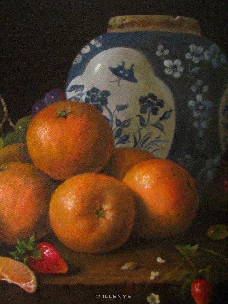 Jeanne Illenye - Oranges on Rustic Ledge with Oriental Ginger Jar (detail) - oil on canvas