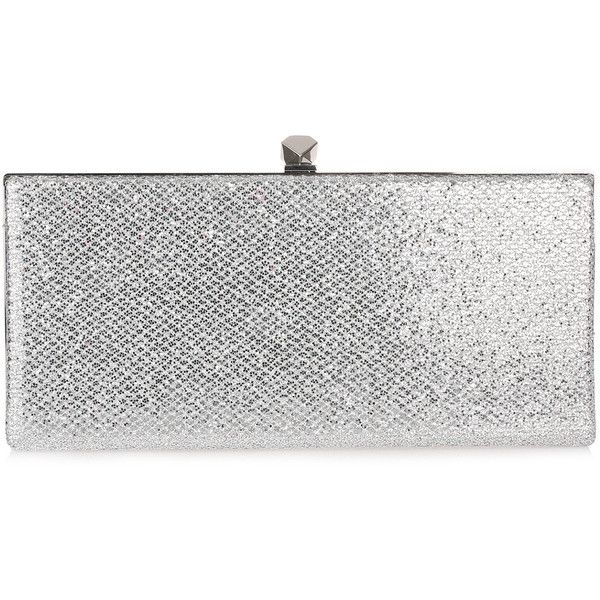 Celeste Silver Glitter Clutch ($825) ❤ liked on Polyvore featuring bags, handbags, clutches, grey, jimmy choo clutches, glitter purse, grey purse, silver grey handbags and gray handbags