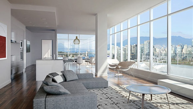 Open concept living room in 700 West 8th by Westbank