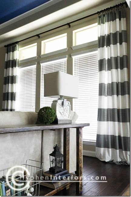gray blue color scheme and diy curtains from showe curtain long window