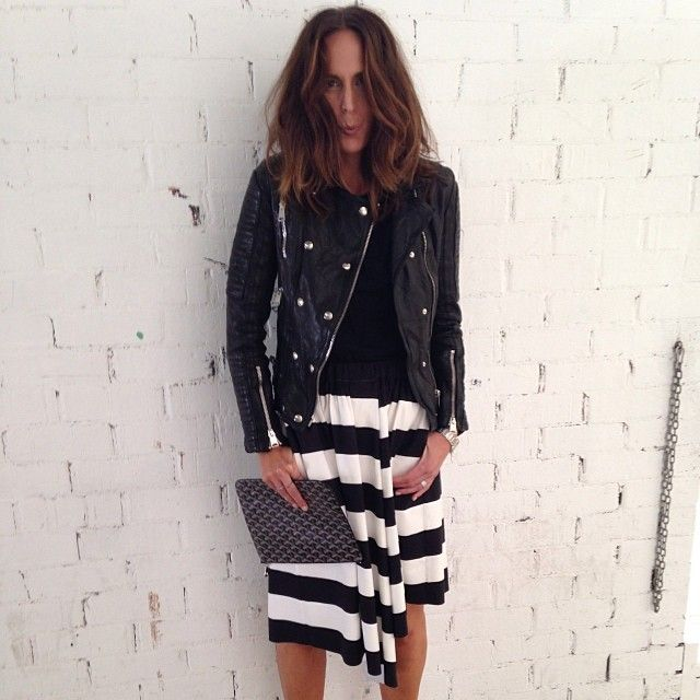 On set today wearing @Annie Compean Robinson BING @Lynn Tru @bassike skirt (amazing!) #Goyard clutch from @philstaub LOVING my hair @keirenstreethair xxx more detail soon!!