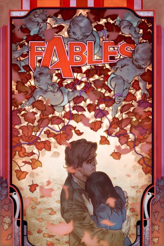 """Fables #31, via Fables/Covers - DC Comics Database. Bigby and Snow. One of my all-time favorite covers, partially because of the colors in the cover. (The """"fall"""" of the """"Mean Seasons"""" story arc.)"""