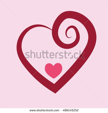 Red heart ring icon vector with spiral style and small pink love . Vector…