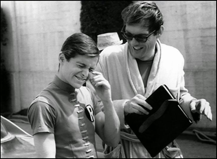 "Actors Adam West and Burt Ward on the set of the movie ""Batman"" (1966)"