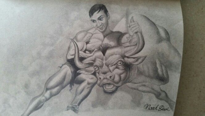Mason, taking the bull by the horns.  Inspired by Ben Stiller in Dodge Ball by Noah Bissi