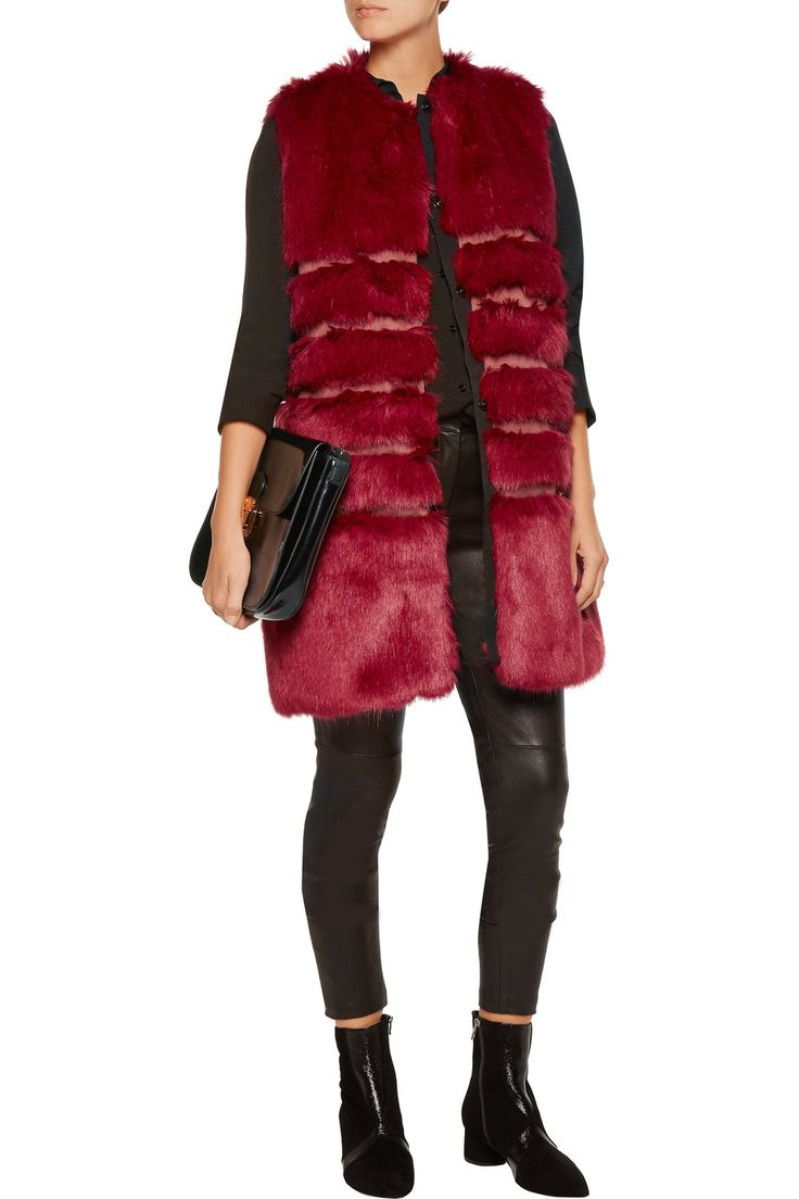 Faux fur and satin vest   Ainea   UK   THE OUTNET