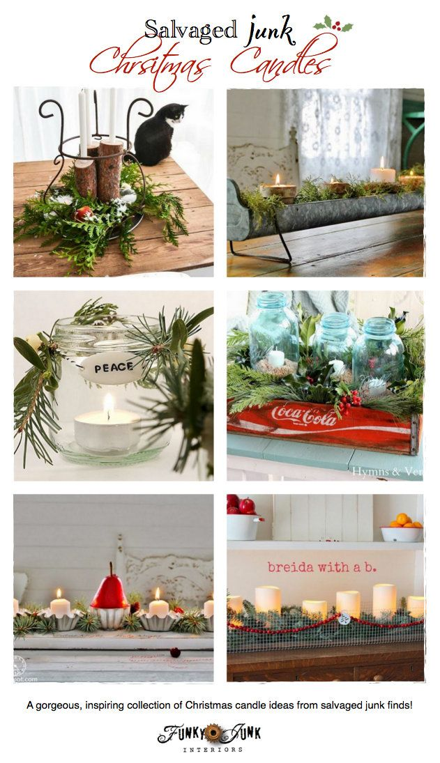 Unique Salvaged Junk Christmas Candles - features and a themed link party, via http://www.funkyjunkinteriors.net/