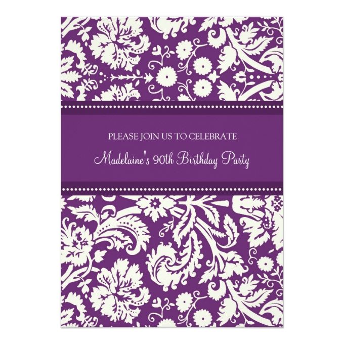 1292 best 90th Birthday Invitations images – Damask Birthday Invitations