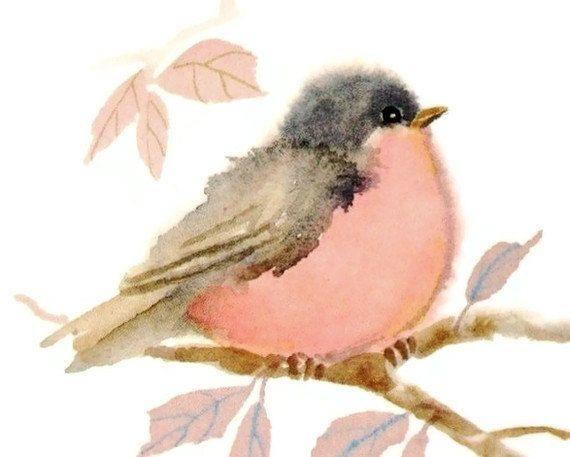Bird pastel pink art print 4x4 by judithbelloriginals on Etsy