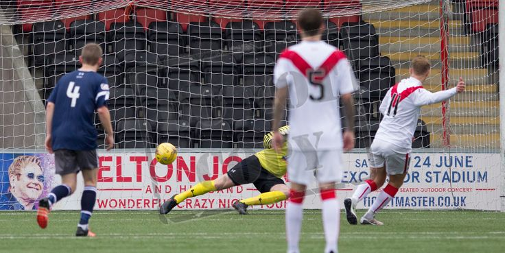 Airdrieonians' Iain Russell scores from the penalty spot during the Ladbrokes League One game between Airdrieonians and Queen's Park.