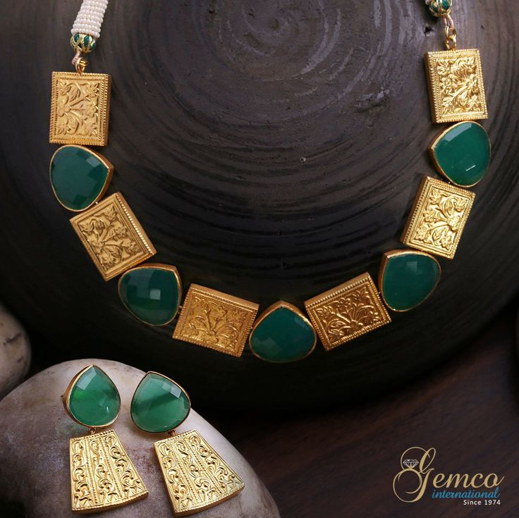 #Green Onyx Art deco #Necklace Set #Designer Cut Green Onyx Gold Plated #Silver Antique #Art Deco #Victorian Jewelry #Collection