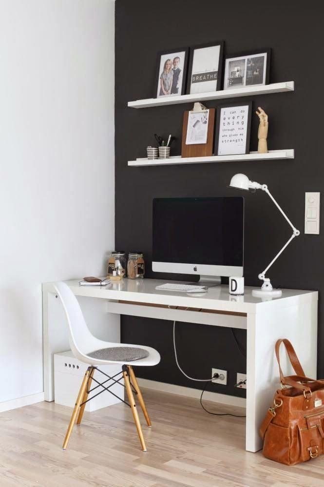 Bardzo dobre kontrastowe wykorzystanie kolorów ścian w miejscu roboczym. #momastudio #office #design