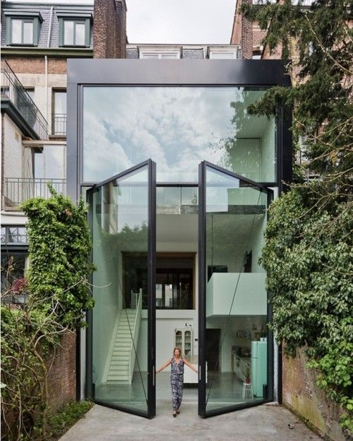 "soudasouda: ""Love the giant glass door Townhouse in Antwerp designed by SculpIT Photo by Luc Roymans. via d.signers- photography, design Posted to Souda's Tumblr From the Pinterest Board: Architecture - Modern Buildings, Monuments, Landmarks, &..."
