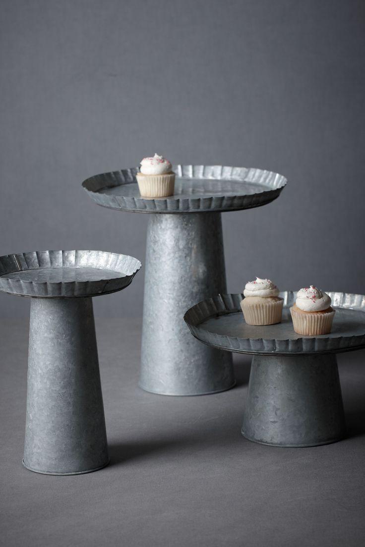 Galvanized Tin Cake Stand Pedestal