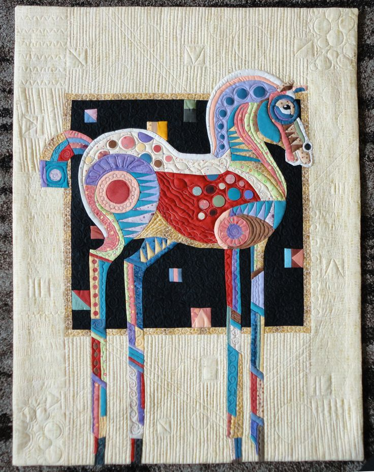 "Horseplay, a fun competition quilt in a contest with the theme ""DOT"""