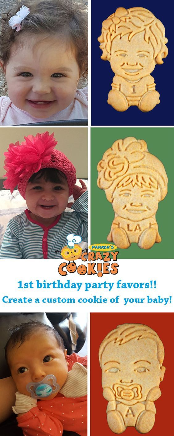 Celebrate your baby's 1st birthday with custom cookies from Parker's Crazy Cookies!! The leader in edible party favors. Discover the magic at www.parkerscrazycookies.com. As seen on the today show and food network channel!