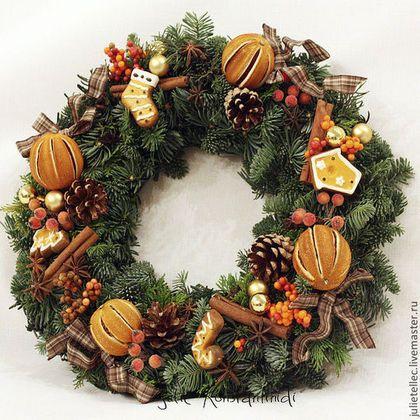 Купить Рождественский веночек с апельсинами - рыжий, рождественский венок, венок на дверь, композиция с апельсинами
