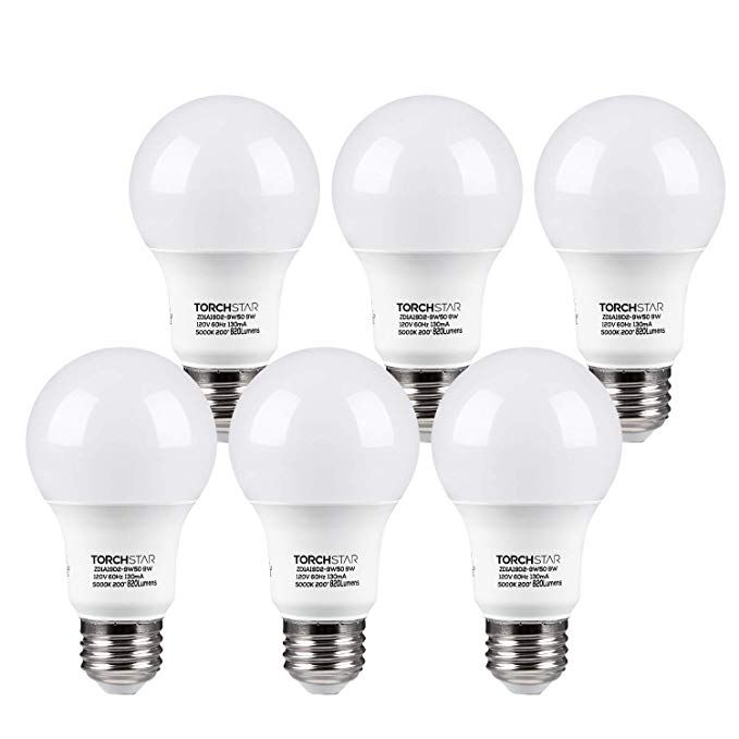 Torchstar Ul Listed A19 Led Light Bulb 9w 60w Incandescent Equivalent E26 E27 Base 820lm 5000k Daylight Pack Of 6 With Images Desk Lamp Led Bulb 12v Led